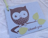 Set of 12 Blue Thank You Baby Boy - Gender Neutral Tags with Green Leaves - Baby Shower, Favor / Gift Tags