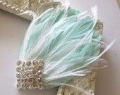 Gatsby Headpiece, Great Gatsby Wedding,1920s, Mint, White, Bridal Head Piece, Feather Fascinator,