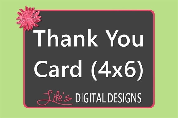 Thank You Card to Match any Design by Life's Digital Designs Printable Customizable