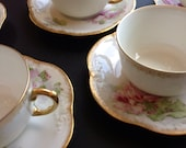 RESERVED FOR MARY Antique Set of 12 French Limoges, Cup and Saucer Set with Creamer, France, Mixed Set, Early 1900's