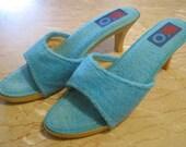 70s Sea & Ski turquoise terry high heeled sandals