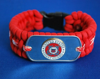 """Paracord Survival Bracelet - Red Paracord &  Coast Guard Dog Tag- with 5/8"""" Buckle"""