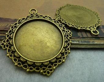 5 pcs 29mm Antique Bronze  Cameo Cabochon Base Setting Tray Blanks Pendants Charm Pendant C5775