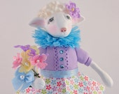 Little White Lamb Polymer Clay Art Doll Figurine