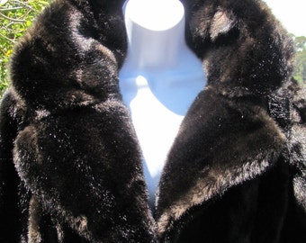 EVANS Chicago Paris Milan Tag Vintage Faux Fur Coat Deep Brownish Black Calf Length Notched Collar Leather Tie Belt