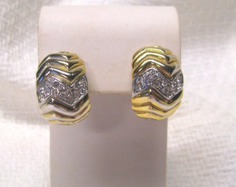 Vintage Pave Crystal Clear Rhinestone Gold tone Huggie Non Pierced Earrings