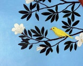 Bird painting,  songbird on branch window for your wall