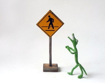 Traffic Sign miniature, yellow wooden, crossing sign, I'm walking here