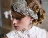Silver Swarovski Crystal Headpiece, Art Deco Crystal beaded headdress, Bridal Veil, Crystal Juliet Cap Veil, Gatsby Bridal Veil, Hair piece