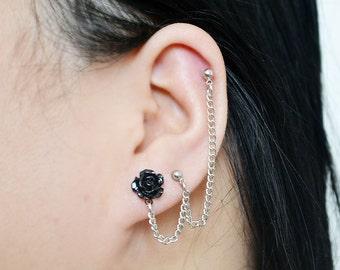 Black Rose Triple Pierce Single Chain Cartilage Earring (Pair)