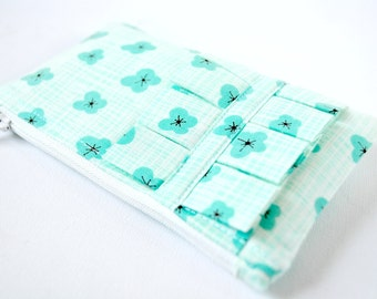 Woman's coin purse wallet Tiny Japanese cherry blossom flowers in aqua blue and white with ruffle.