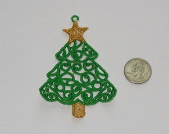 Lace Applique for Crafts or Crazy Quilt -  Filigree Christmas Tree I