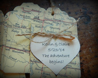 Vintage Map  Tags -  Vintage maps - personalized- Weddings, Baby Showers, Travelers, journeys- set of 12