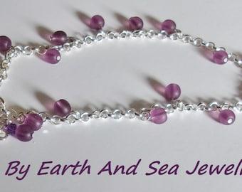 Purple Recycled Sea Glass Swarovski Crystal Silver Anklet