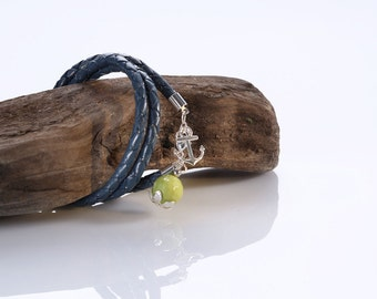 "Leather woven Bracelet ""My Heart"""