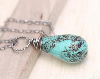 Turquoise Necklace, Rustic Turquoise Necklace, Sterling Silver Necklace, Gemstone Necklace, Wire Wrapped Necklace