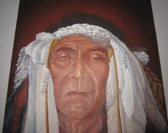 Original Painting of Native American Indian Chief on Canvas Artist Unknown unframed