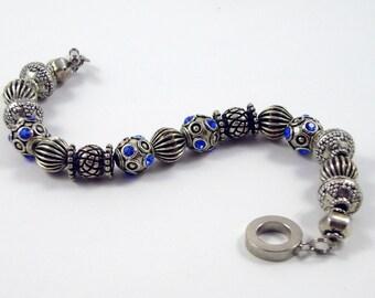 Sapphire Blue Swarovski Crystal Element Metal Beaded Bracelet