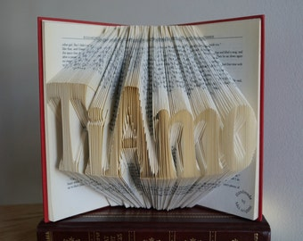 TiAmo-I love you in italian-arte del libro-Regalo de boda-folded book art-wedding gift-Valentine's day gift
