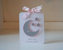 Baby Shower Invitations Moon and Stars Baby Girl Invites Thank You Cards Pink and Gray