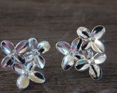 2 pairs Silver Flower Earring Studs with Connector Loop 15mm by 14mm Matching Backs Included