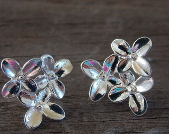 1 pair Silver Plated Flower Earring Studs with Loop 15mm