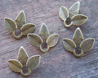 10 Bronze Leaf Connector Charms 14mm