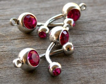 12 Dark Pink Crystal Belly Button Rings with Loop to Add Charms, 14 Gauge 304 Surgical Steel