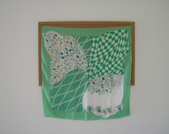 """Vintage Italian Fashion SILK SCARF of GUMP'S San Francisco Hand Rolled 33"""" Square Abstract Motive"""