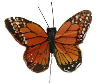 12 pc 2 Inch Feather Monarch Butterflies Orange and Black (BF2420)