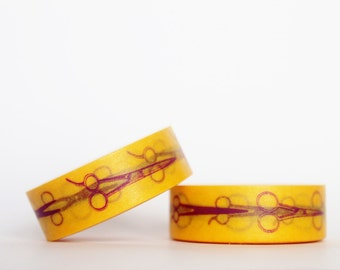 Yellow Vintage Scissors Washi Tape