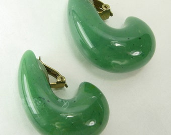 1970s French Tribal Chic Faux Jade Lucite Big Earrings Runway Jet Set