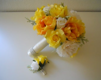 Shade of Yellow and Ivory Roses Bridal Bouquet