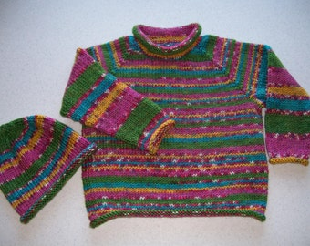 Multi Color Girls Pullover and Hat