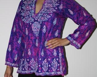 Purple and Pink Silk Batik Tunic