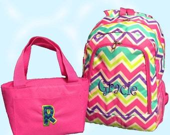 Personalized Multi Color Chevron Backpack and Lunch Tote Set with Pink Trim Zig Zag Full Size Bookbag and Lunch Tote Monogrammed FREE