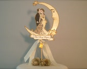Crescent Moon Wedding Cake Topper - Personalized - Book Themed - Gold Glitter - Bride and Groom