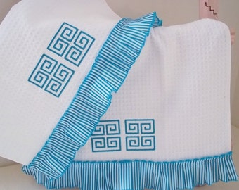 A set of 2 Kitchen Towels trimmed with Embroidered Greek Key in Aqua.