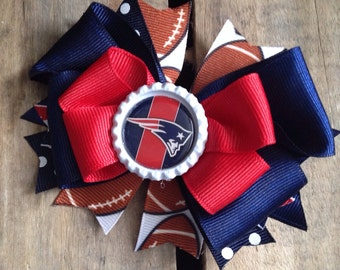 New England Patriots Bottle Cap Stacked Boutique Bow with Spikes