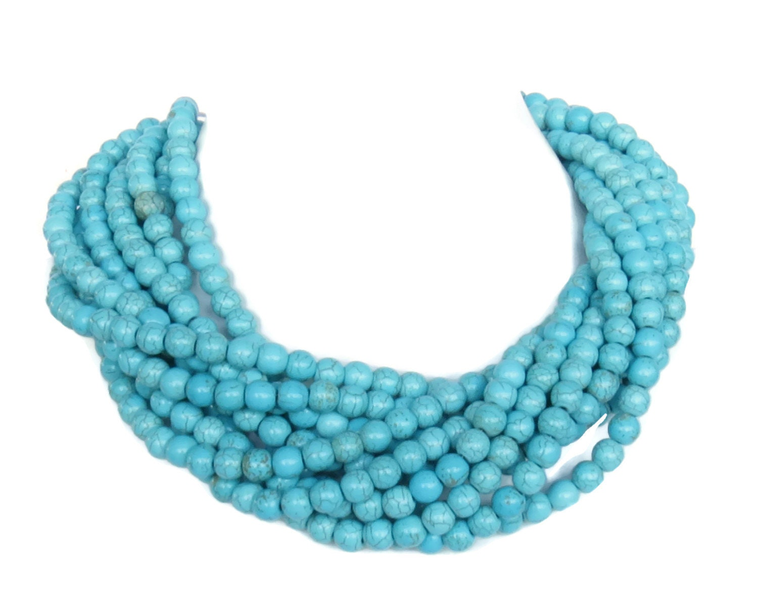 chunky turquoise statement necklace light by