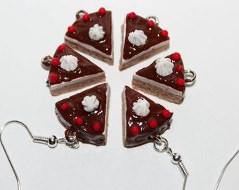 Cake Earrings - Cheese Cake Earrings - Chocolate Cake Earrings - Food Earrings