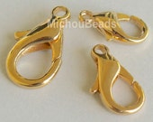 100 GOLD 12mm Lobster Clasps - 12X6mm LOBSTER Claw Plated Brass Clasp for Jewelry - USA Wholesale Beads and Findings - Instant Ship - 5532