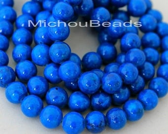 """8"""" Strand - 8mm BLUE Natural RIVERSTONE - Round Opaque Natural River Stone Gemstone Wholesale Bead -  Instant Ship from USA  - 5289"""