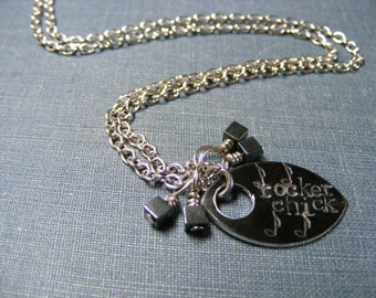 Rocker Chick Necklace:  Hand Stamped Pendant with Stainless Steel and Hematite