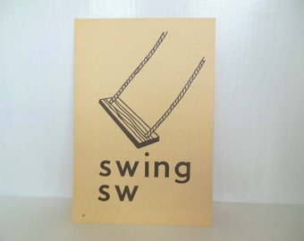 "Vintage Picture Flash Card Swing Large (8"" by 5 1/2"") Paper Ephemera 1950's (item 12)"