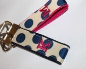 Monogram Key Fob Polka Dot Key Chain Navy Key fob Team Gift Teacher Gift Off White and Navy Key Ring Nurse Thank You Bus Driver Gift