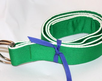 "D Ring Belt Green and White Ribbon Belt 1.5"" Wide Mens Green Belt Wide Men's Belt Green Belt Groomsment Belt Wedding Attire Prep Belt"