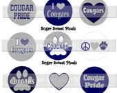 INSTANT DOWNLOAD Cougars 2  Navy Blue Gray Silver School Mascot 1 inch Circle Bottlecap Images 4x6 sheet