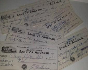 L 6 pc lot Vintage bank paper ephemera Old canceled checks 1965 mixed media art scrap supplies
