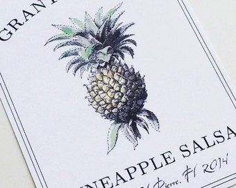 Personalized Pineapple Canning Labels or Tags Homemade Food Labels, set of 18